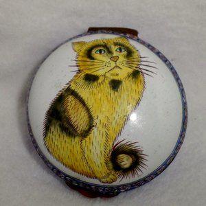 Vintage Copper Enamel Trinket Box Cool Cat
